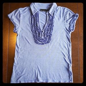 The Limited sz M stripe & ruffle top